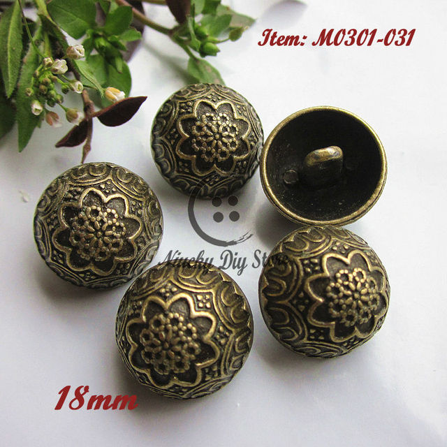 US $17 99 10% OFF 72pcs 18mm bronze pure metal coat buttons retro patterns  bronze buttons fashion coat clothing accessories-in Buttons from Home &