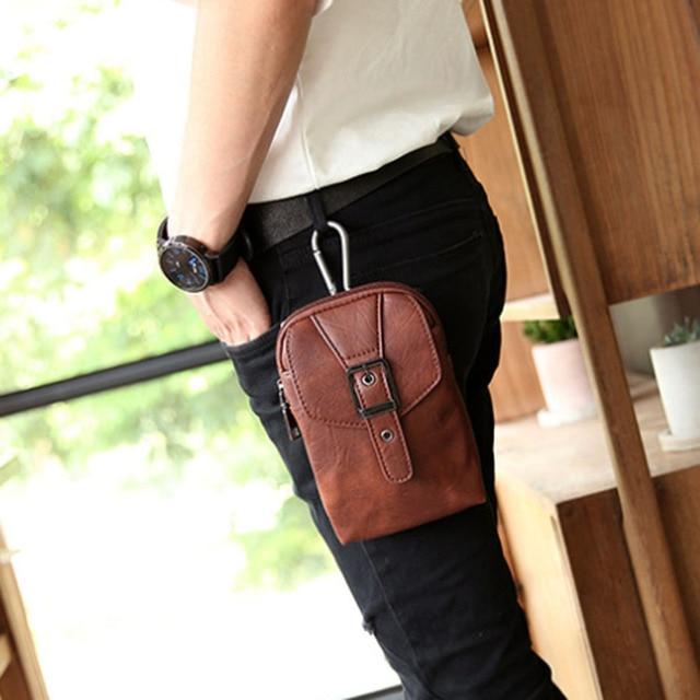 Men High Quality PU Leather Fanny Pack Waist Hook Belt Bag shoulder bag Pocket Cigarette Case Phone Coin Purse Leisure Bags