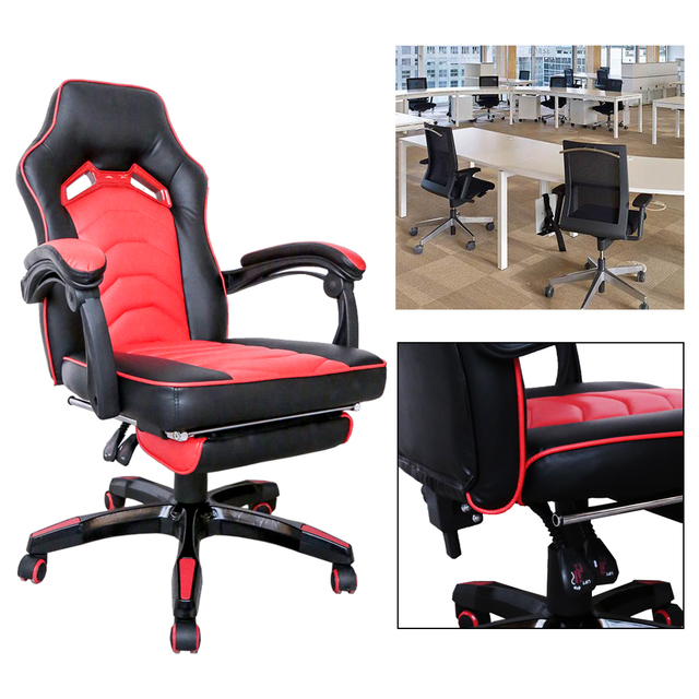 Comfortable Swivel Chair Self Defense Adjustable Office Work Game Racing Reclining Color Black Red 100 108cm Height