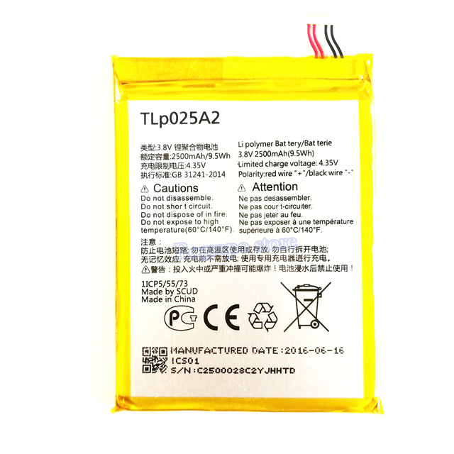 e0ddb3769f9 2500mAh 3.8V Battery For Alcatel One Touch Idol X+ X Plus 6043D OT-6043D  TCL S960 Y900 TLp025A2 Mobile Phone Batterie Bateria
