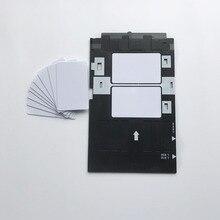 Cartão vazio do pvc do jato de tinta do stater Kit 100pcs da impressão a jato de tinta + bandeja do cartão da identificação de 1pc para impressoras a jato de tinta de epson a50, t50, r280, l800, l805.
