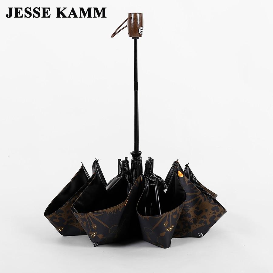 JESSE KAMM 완전 자동식 접이식 컴팩트 방풍 우산 유리 섬유 여성용 여성 여성용 부드러운 올빼미 패션 썬 샤인