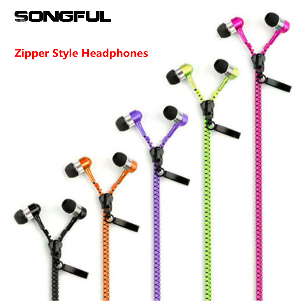 Wired Creative Zipper Style Headphone Stereo Hands-Free Zip Earphone Cable Earbud Ear Phones with Microphone Volume Control Free