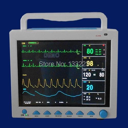 6 Parameters 12 1' ICU Patient Monitor Blood Pressure SPO2 EG RESP Temperature Pulse Rate Optional 6 cuffs Thermal Recorder