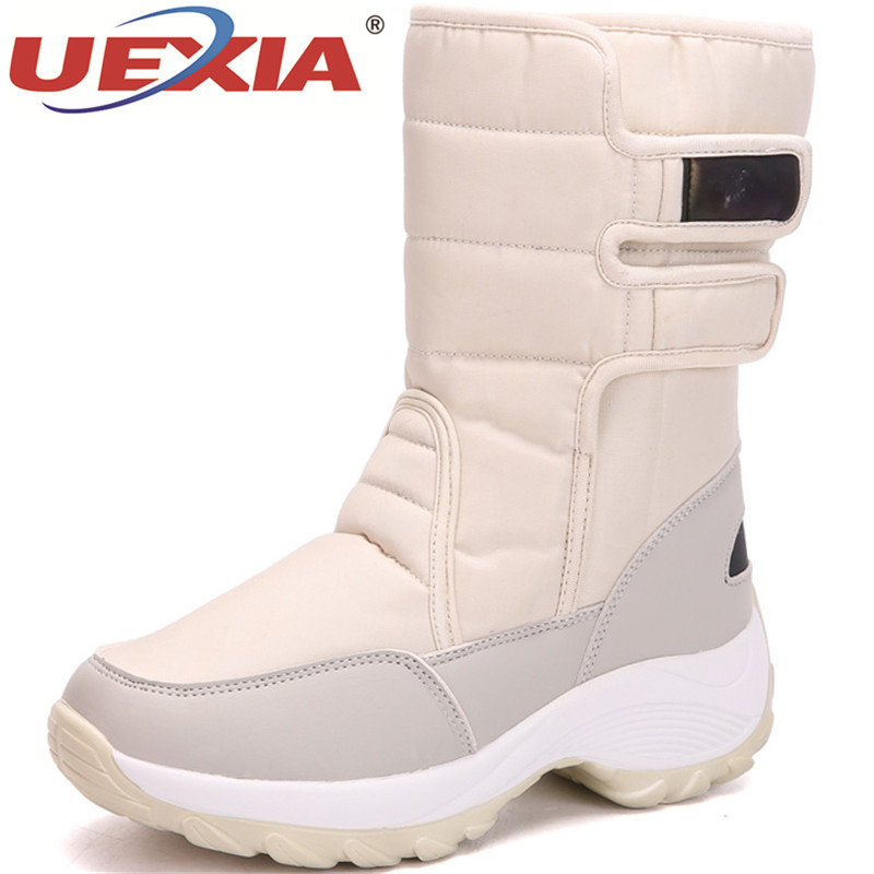 UEXIA New Plush Shoes Women Boots Warm Winter Snow Boots Women Ladies Fur Winter Shoes Woman Platform Ankle Boots Black Sneakers ekoak new women snow boots fashion winter boots warm plush ankle boots ladies platform shoes woman flock rubber boots