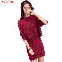 Knitted Suit 2017 Winter Women Sweater Set Long Sleeve O Neck Solid Elastic Waist Pencil Skirt