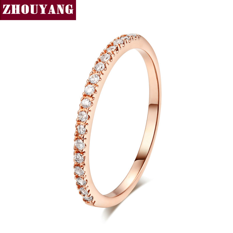 Top Quality Gold Concise Classical CZ Wedding Ring Rose