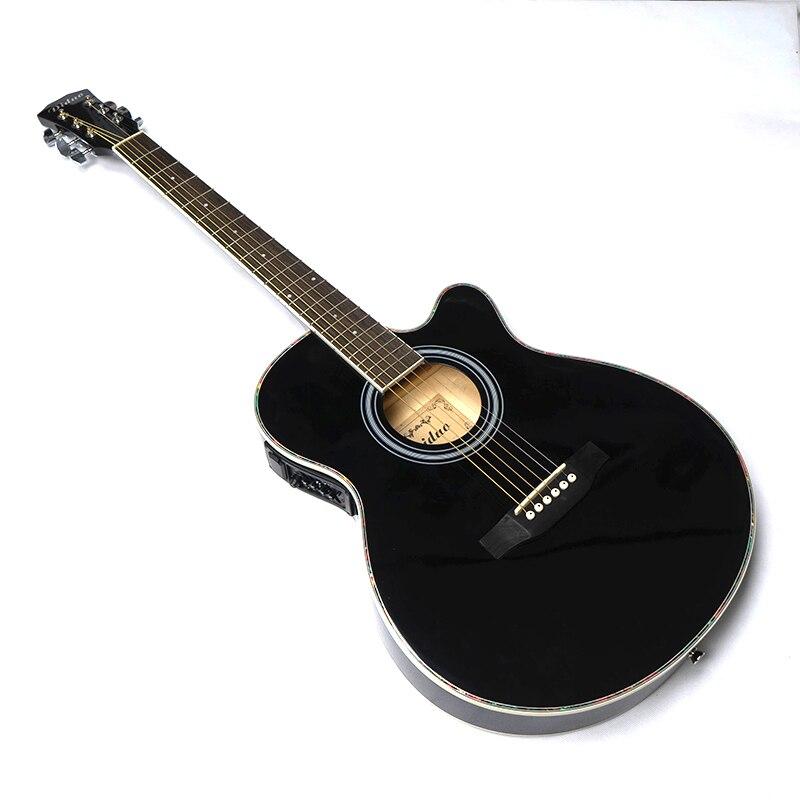 Guitare Électrique Acoustique à Cordes D'acier Balladry Pop Folk Fine Flattop 40 pouce Guitarra 6 Cordes Lumière Noire Pan Coupé électro