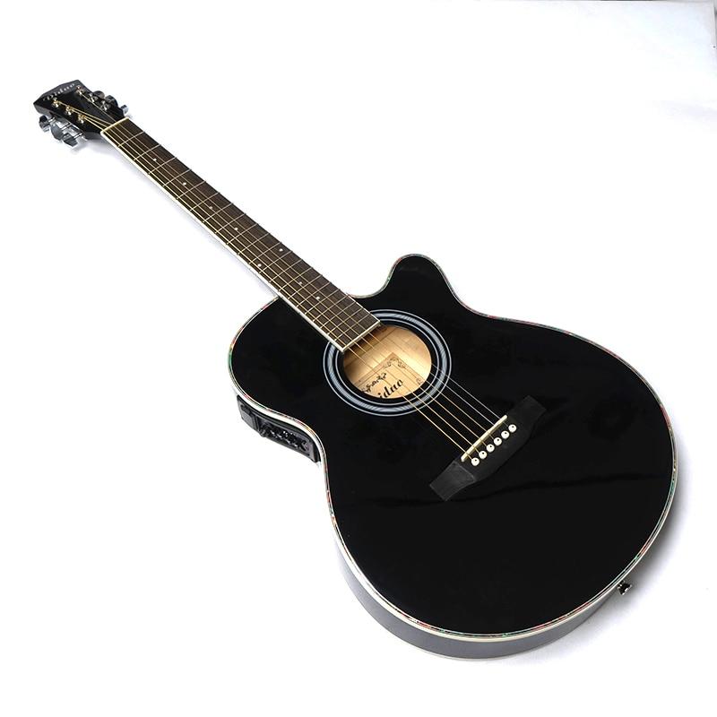 Thin Body Electro Acoustic Electric Folk Pop Flattop Guitar 40 Inch Guitarra 6String Black Light Built