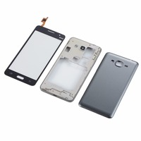 Para Samsung G530H G530 Habitação Quadro Do Meio + Tampa Traseira Da Bateria + tela de toque Do Painel De Vidro
