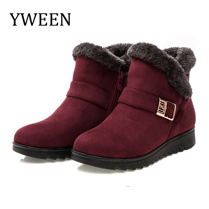YWEEN Wedge Women Boots Snow Warm Fur Winter Ankle For Middle-aged Mother Shoes Female Botas Mujer