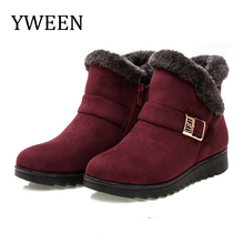 YWEEN Wedge Women Boots Snow Boots Warm Fur Winter Boots Ankle Boots For Women Middle-aged Mother Shoes Female Botas Mujer Shoes new fashion bow snow boots women winter thick warm female ankle boots wild middle tube platform cotton shoes botas mujer 2018