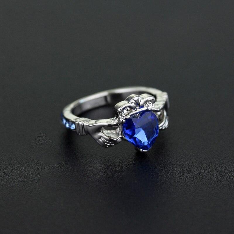 Dongsheng 2017 HP кольцо Ravenclaw школьные кольца, держащие кристальную любовь, сердце, корона, обручальное кольцо с голубыми кристаллами-25