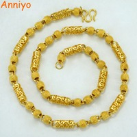 Anniyo Length 60cm Ethiopian Necklace For Men Women Gold Color Copper African Arabian Gifts Jewelry 005607