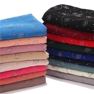 Image 3 - 10 pcs/lot Womens Bubble Chiffon Scarf Crystal Scarf Hijab Shawls Wraps Solid Color Muslim Hijab Scarf 20 Colors