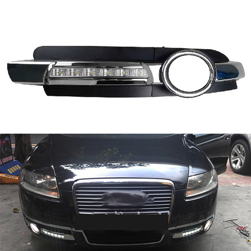 Brand New Chrome Style 12V LED CAR DRL Daytime Running Lights With Fog Lamp Hole For AUDI A6 C6 2005 2006 2007 2008 Wholesale new dimming style relay waterproof 12v led car light drl daytime running lights with fog lamp hole for mitsubishi asx 2013 2014