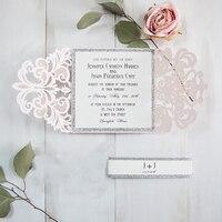 1 Unidades pliegue diseño flor blanca invitaciones de boda impresión laser cut convite de casamento invitan a las tarjetas de boda decoración