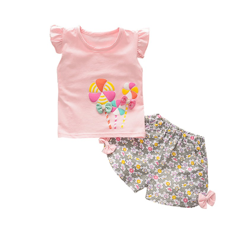 3 Color Newborn Baby Girl Clothes Set Cartoon Printing T-shirt Floral Bow Shorts Baby Clothes Set Fashion Girl Clothes