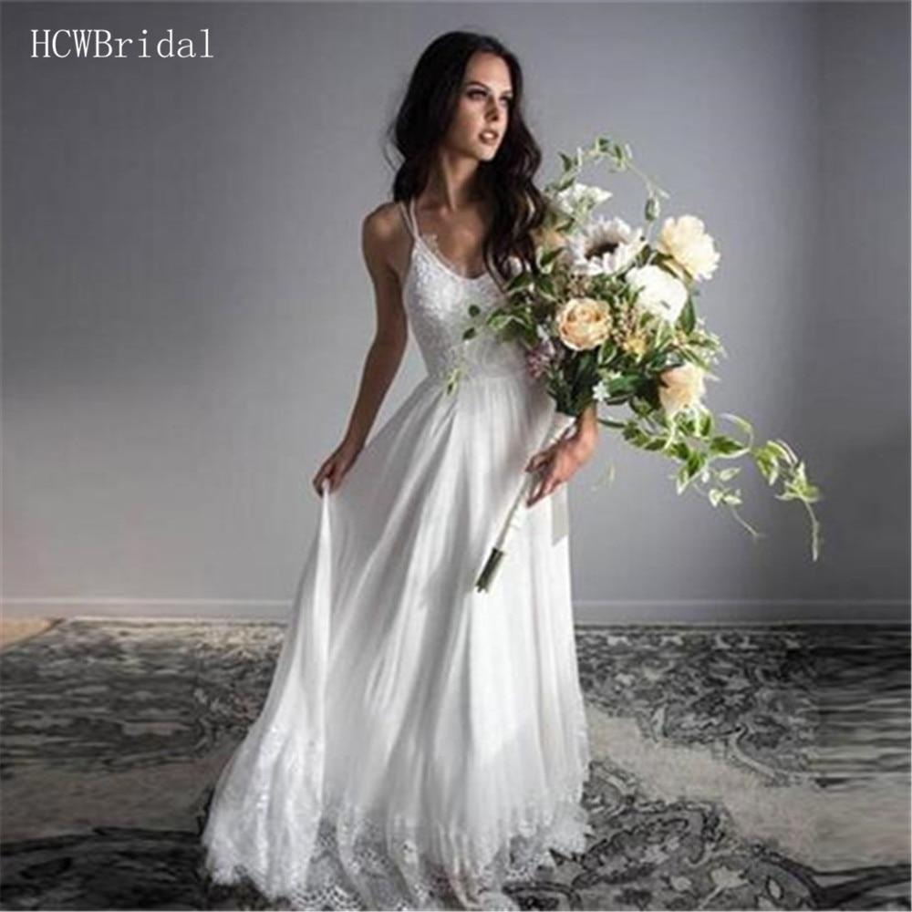 Robe De Mariee 2019 Simple Lace Chiffon Wedding Dresses