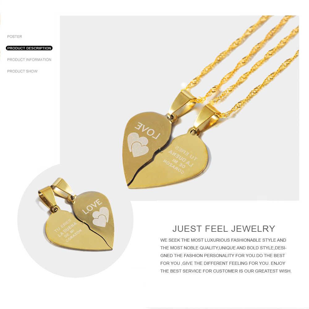 """Просто Почувствуйте себя горячим ожерелье с разбитым сердцем испанский """"ты мастер моего сердца"""" две половинки сплайсинга Пара Ожерелье для влюбленных подарки"""