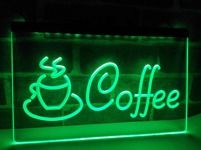 LB433 Coffee Cup Cappuccino Cafe LED Neon Light Sign Home Decor Crafts