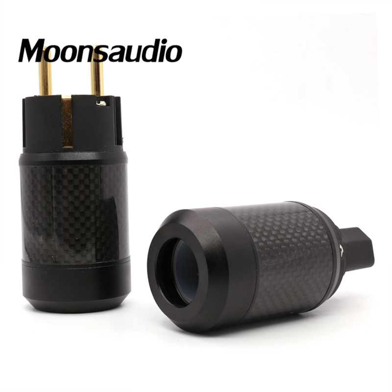 Free shipping one pair carbon fiber brass Gold plated EUR schuko power plug connectors for DIY audio power cable free shipping figure 8 gold plated carbon fiber eu schuko power plug for audio cable