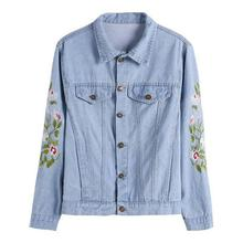 2017 spring and summer new casual embroidery printed denim short font b jacket b font ladies