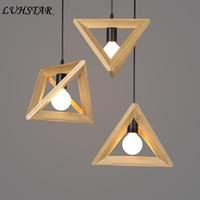 Wooden Geometry Pendant Lights Living Room Dining Room Restaurant Pendant Lamp Wooden Frame Triangle Lamp Modern Light Fixture