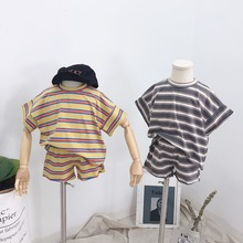 Summer Set Baby Girl Clothes Sets Short Sleeve Striped T-shirts for Boys + Shorts Two Piece Sets Korean Causal Summer 2Pcs 2019