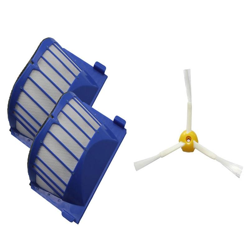 2 AeroVac Filter + Brush 3 armed for iRobot Roomba 600 Series 620 630 650 660 bristle brush flexible beater brush fit for irobot roomba 500 600 700 series 550 650 660 760 770 780 790 vacuum cleaner parts