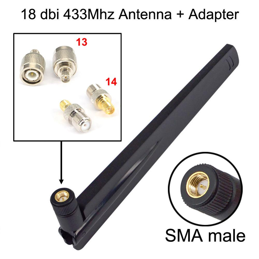 1 Set 18dbi 433Mhz Antenna SMA Male Booster+SMA Female To Ts9 CRC9 N F BNC TNC TV Male Female Adapter