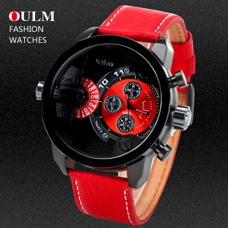 10 Colors New Arrival Mens Leather Strap Watches Luxury Quartz Watches Multiple Time Zone Military Watches Relogio Masculino