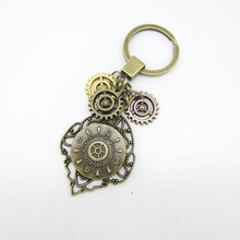 Brass Ox Color Gears and Clock Look Metal Charm Vintage Steampunk Keychain