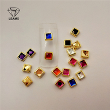 100Pcs/bag Square Cushion Zircon Alloy Nail Decorative Seven Colors Nice Girl DIY Sticker