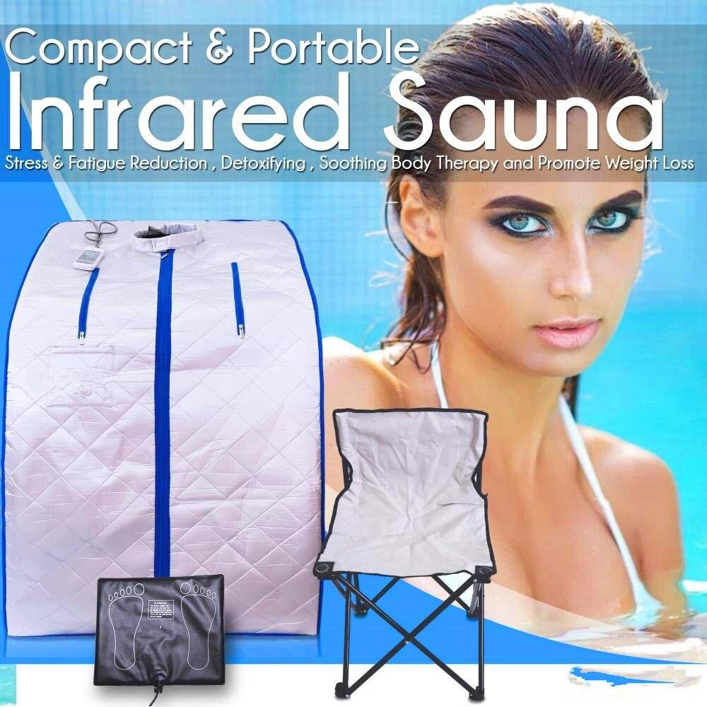Portable Far Infrared Sauna Spa Slimming Negative Ion Detox Therapy Personal Fir Sauna Cabin Folding Chair