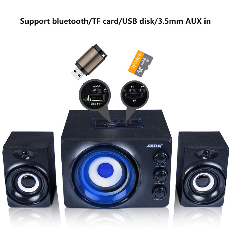 SADA Q2 220V Power 2.1 3 Channel Stereo Computer Combination Speakers Bluetooth\USB Disk\TF Card\AUX in With Colorful LED jeway js 6207 stylish usb powered 2 channel speakers set for computer green black