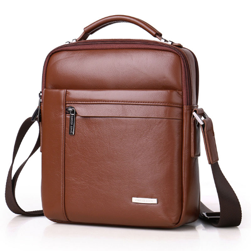 Men Genuine Leather First layer Cowhide fashion Handbag Crossbody Shoulder Bag Leisure travel Cigarette Case Cell Phone Pocket baillr brand men briefcase first layer of cowhide real leather men crossbody shoulder bag men genuine leather handbag for laptop
