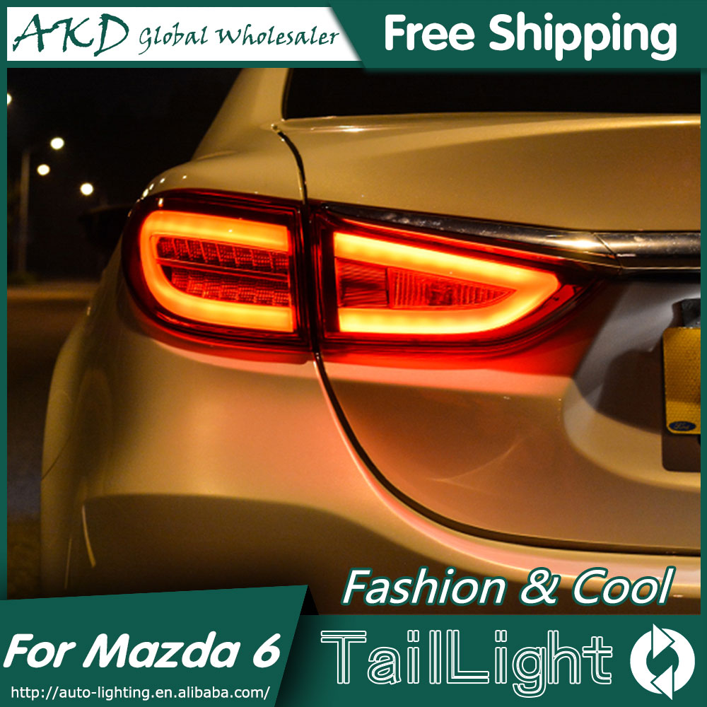 AKD Car Styling for Mazda6 <font><b>Tail</b></font> <font><b>Lights</b></font> 2014-2015 New <font><b>Mazda</b></font> <font><b>6</b></font> <font><b>LED</b></font> <font><b>Tail</b></font> <font><b>Light</b></font> <font><b>LED</b></font> Rear Lamp DRL+Brake+Park+Signal image