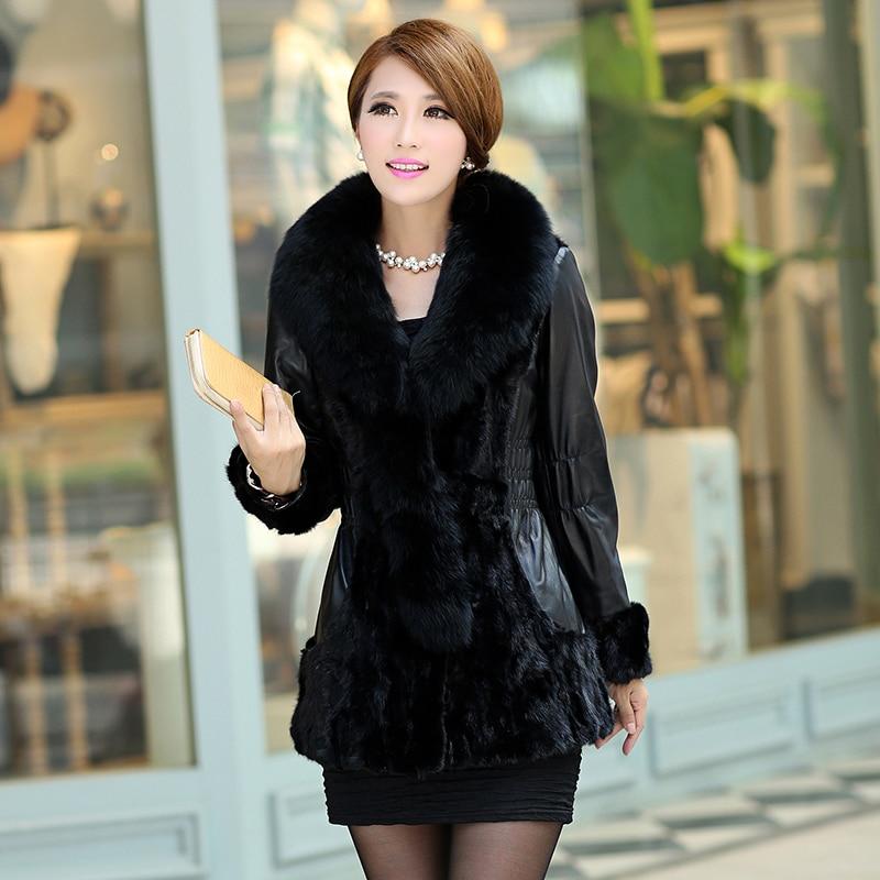 2014 Spring Autumn Women's Genuine Sheep Leather Coats Spliced Mink Fur Hem Back Fox Collar Lady Outerwear VK1305 - BESTOPPO Foreign Trade Co., Ltd. store
