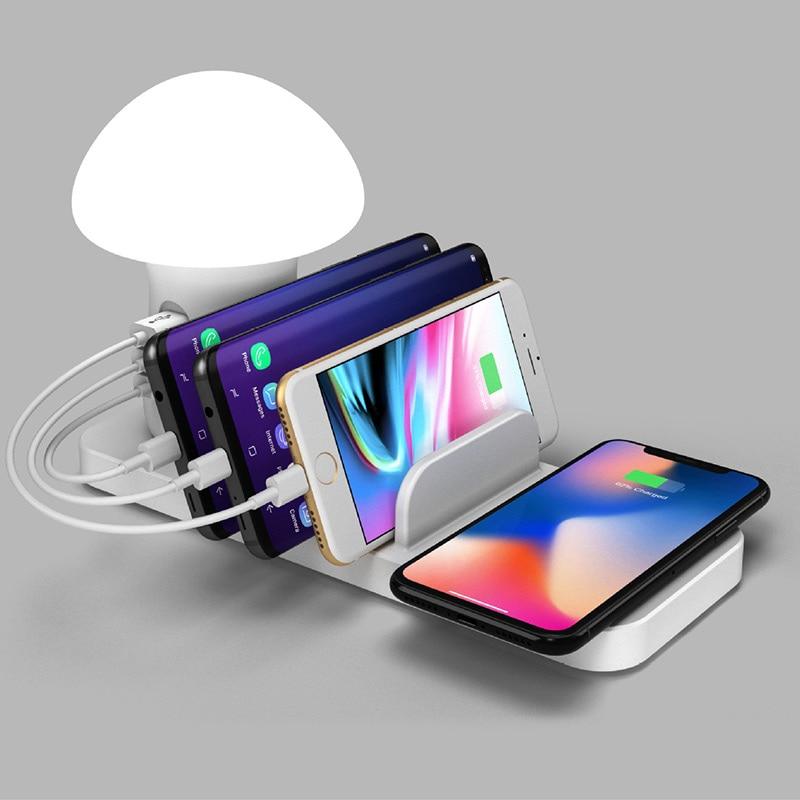 3 ports USB chargeur sans fil Qi Station de charge Dock QC 3.0 rapide champignon lampe de nuit chargeur pour téléphone portable et tablette