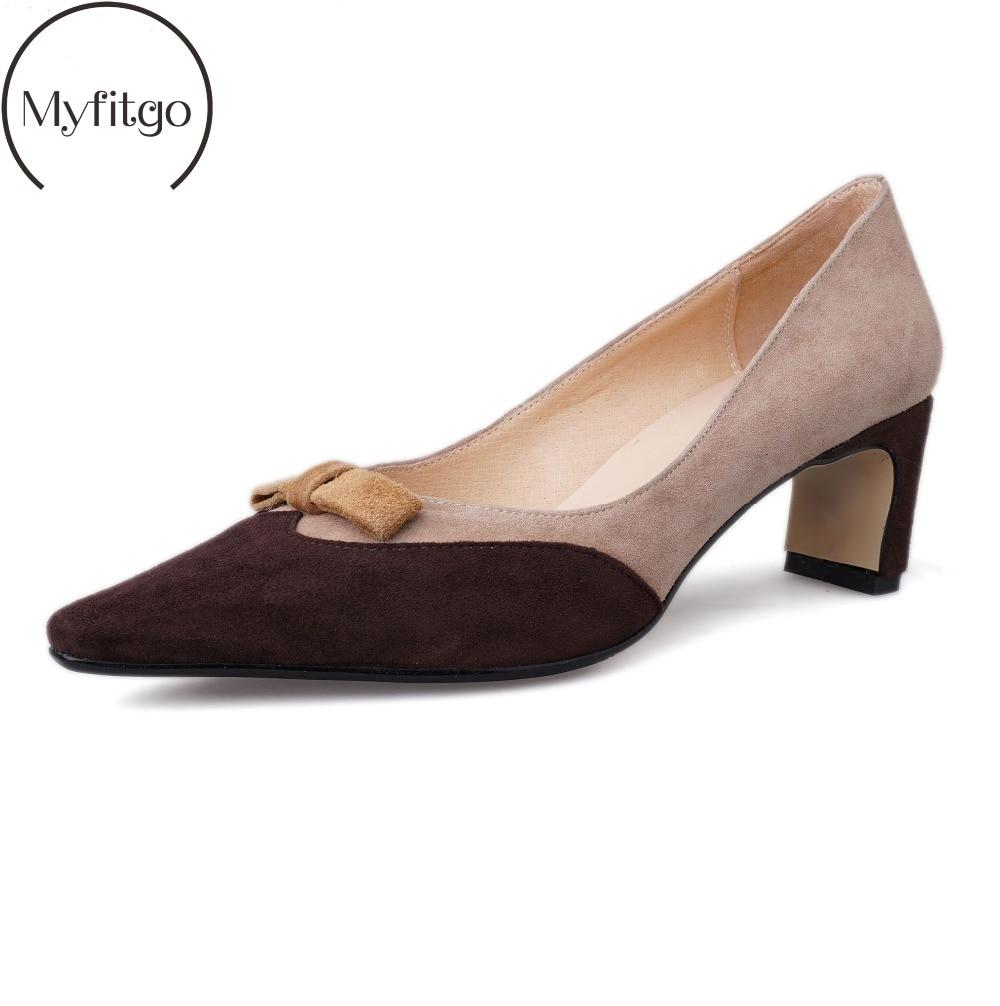 Nouveau femmes robe chaussures enfant daim printemps 4 cm Med talons sandales Bowknot classique pompes femme dames en cuir véritable fête travail chaussures