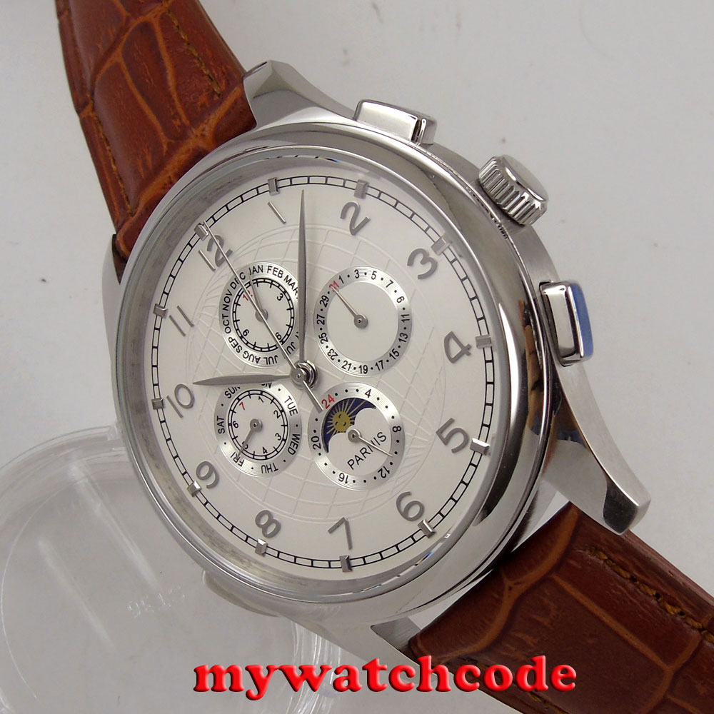 лучшая цена 44mm parnis white dial silver numbers automatic movement mechanical multi-function mens watch P117