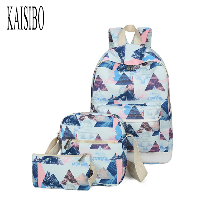 KAISIBO 3pcs Set Bag Women Printing Backpacks Canvas School Backpack Students Bags for Teenages Girls Casual