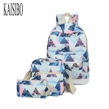 Kaisibo 3 шт./компл. сумка Для женщин печати Рюкзаки холст школьный рюкзак студентов Сумки для подростков Обувь для девочек Повседневное путешествия ранцы