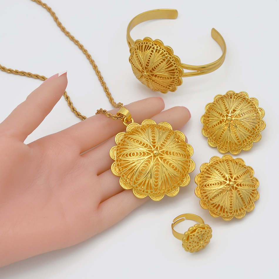 Anniyo Ethiopian Jewelry sets Pendant Necklaces Earrings Ring Bangles for Womens Gold Color Eritrean African Bride Gifts #207506 5