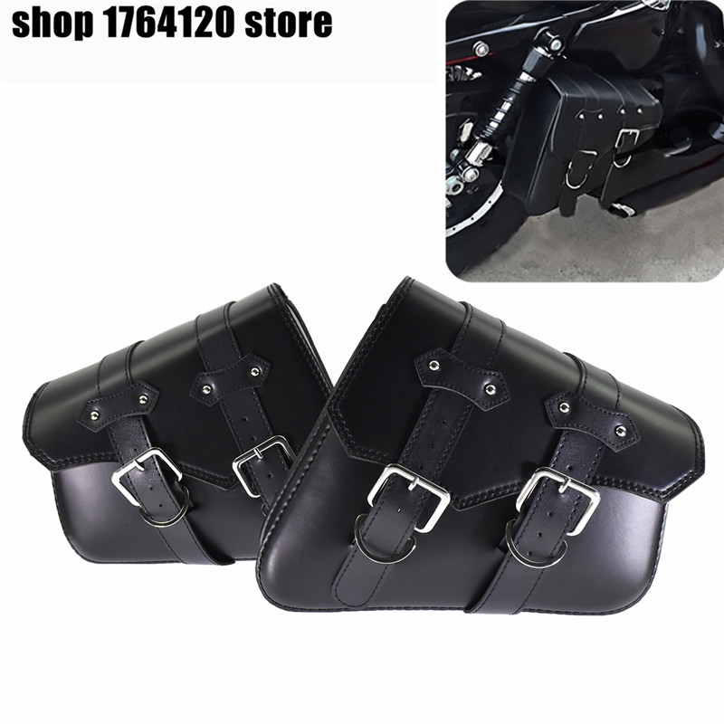 2PCS Motorcycle Left+Right Side Saddle Bags Pu Leather Side Tool Bag Out Door Luggage For Harley Sportster XL 883 <font><b>1200</b></font> image