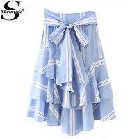 Sheinside Arc Cravate Taille Layered Ruffle Jupe 2017 D'été Rayé Longue Jupe Femmes Taille Haute Élégante Jupe Bleu Jupe