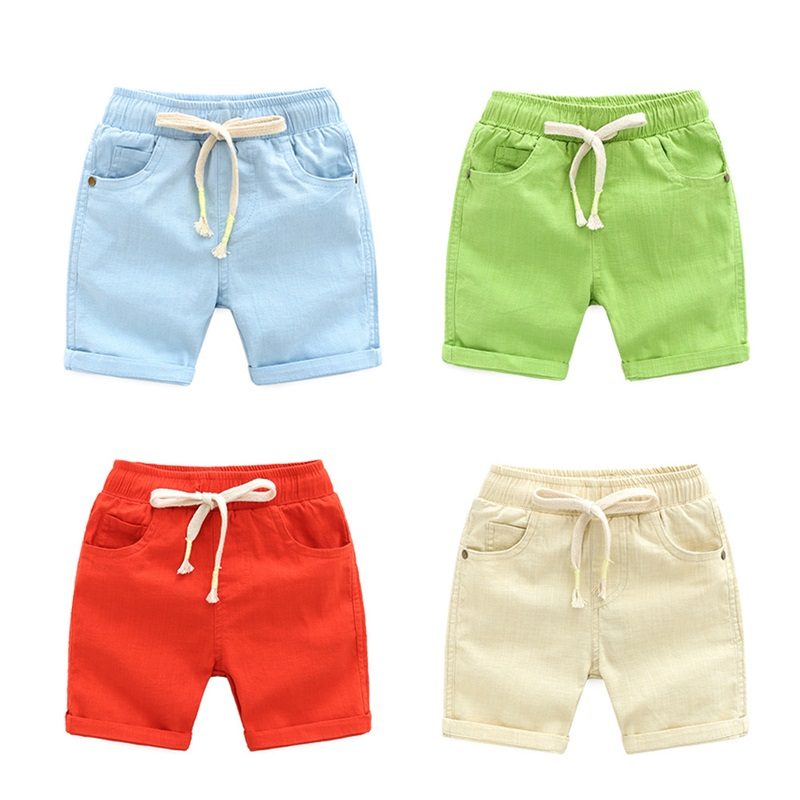 DE PEACH New Summer Baby Boys Loose Casual   Shorts   Pants Girls Kids Beach   Shorts   Children Clothing Boys Cotton Linen Pants 2-6Y