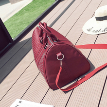 Women's Red PU Leather Travel Bag
