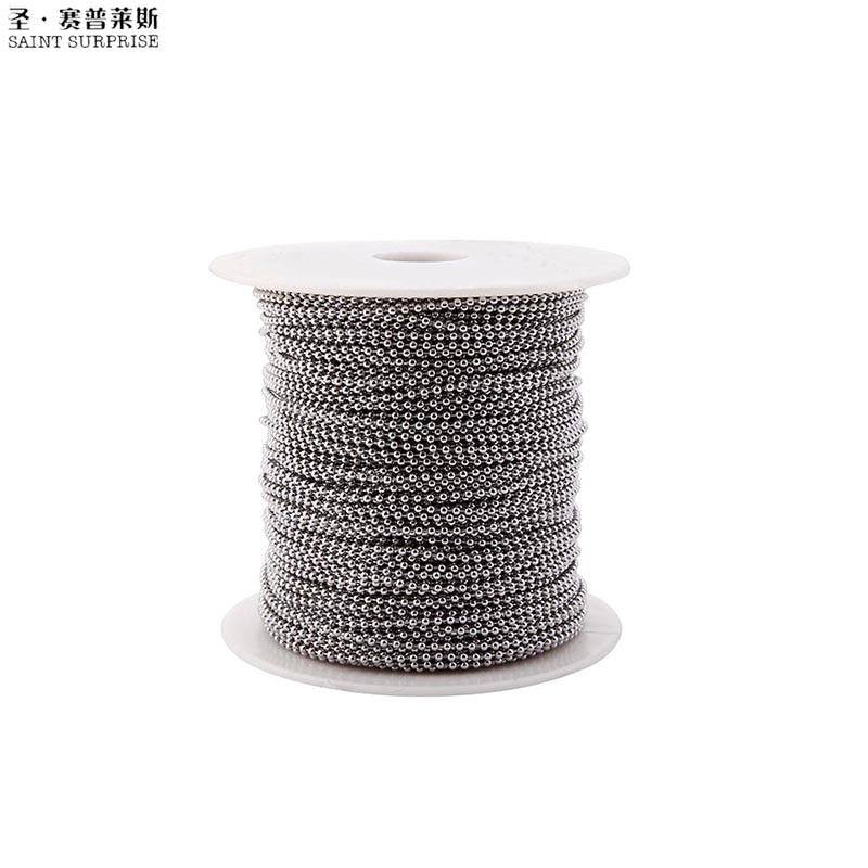 100 mètres 2.0mm 304 acier inoxydable perle boule chaîne bobine pour bijoux bricolage accessoires